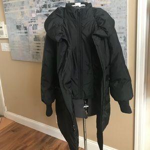 Tahari black down jacket XL double zipper
